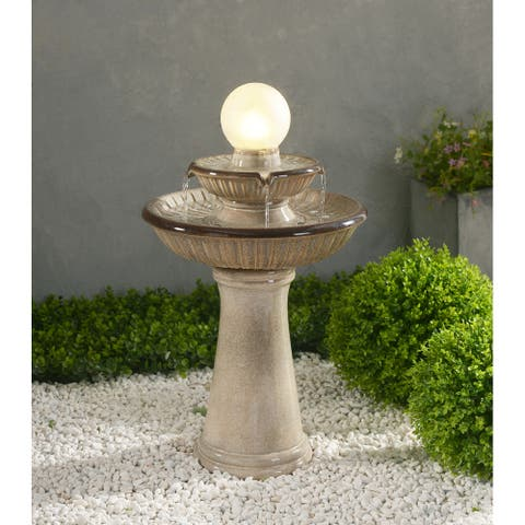 """Abbeville Small Ivory Ceramic Tiered Fountain with Light - 15.4"""" x 26.4"""""""
