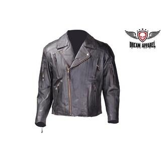Men's Leather Motorcycle Jacket - Size - M
