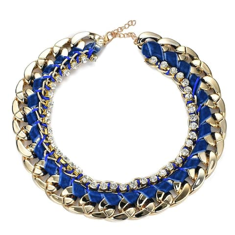 Statement Link Chain Necklace w/Navy Blue ribbon & Austrian Crystal Rhinestones, by JADA Collections