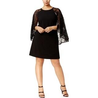 Calvin Klein Womens Plus Cocktail Dress Lace Capelet