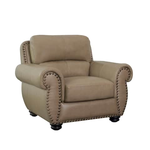 Abbyson Aaron Beige Top Grain Leather Armchair