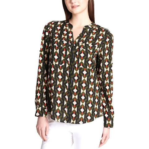 Calvin Klein Womens Plus Blouse Printed Rolled Sleeves - 1X