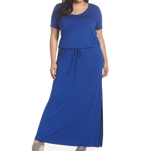 11fa9e35aea Shop CASLON Blue Drawstring Waist Women s Size 3X Plus Knit Maxi Dress - On  Sale - Free Shipping On Orders Over  45 - Overstock - 27602501