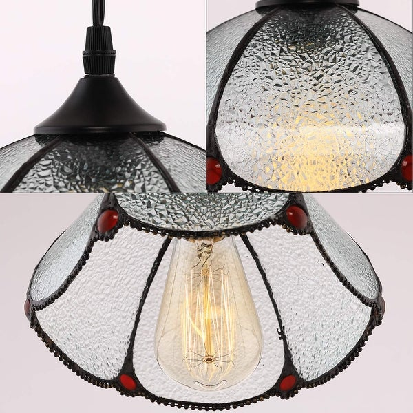 """1 AVAILABLE Vintage Stained Glass Tulip Shape   Pendant Ceiling Light 11/"""" wide"""