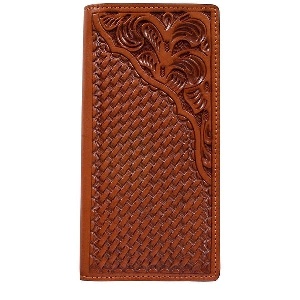 3D Western Wallet Mens Leather Rodeo Checkbook Natural - One size