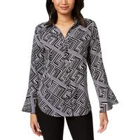 NY Collection Womens Button-Down Top Geometric Bell Sleeves