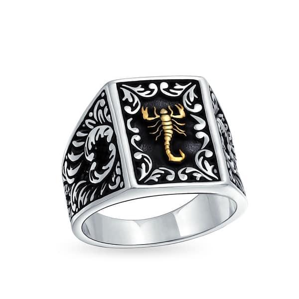 Hombres 925 Sterling Silver Ring Granate Verde Diseño Raro Scorpion Horóscopo