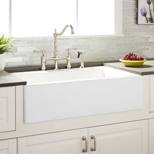 signature hardware 935144 almeria 33 farmhouse single basin cast iron kitchen s - Cast Iron Kitchen Sinks