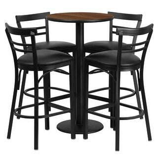 "Dyersburg 5pcs Table Set Round 24"" Walnut, Black Vinyl Barstool"