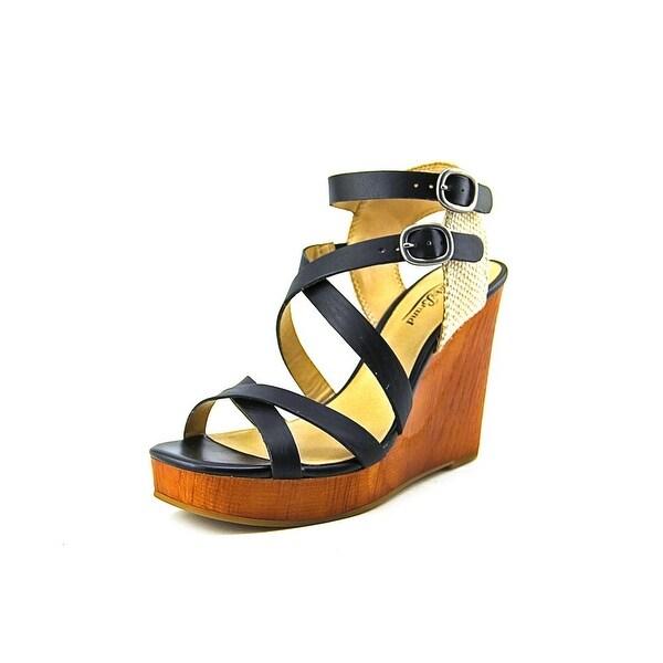 Lucky Brand Lahoya Women Open Toe Leather Black Wedge Heel