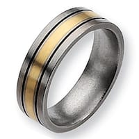 Chisel 14k Gold Inlaid Flat Brushed and Antiqued Titanium Ring (7.0 mm)