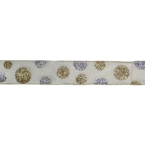 "Gold and Silver Glitter Polka Dotted Christmas Wired Ribbon 2.5"" x 16 Yards"