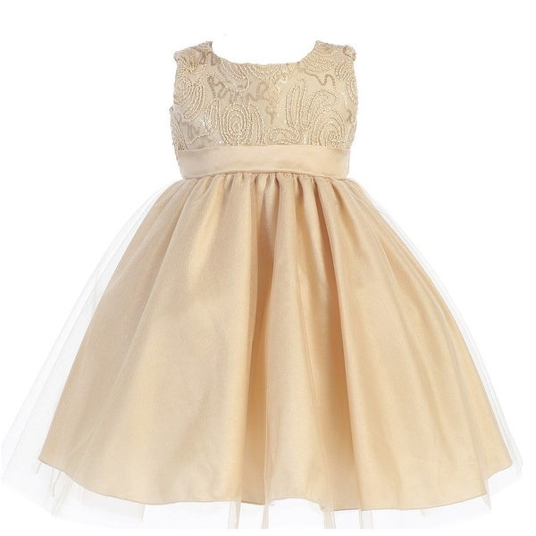 Baby Girls Gold Glitter Corded Top Shiny Tulle Occasion Dress 3-24M
