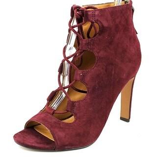 Nine West Unfrgetabl Women  Peep-Toe Suede Red Heels