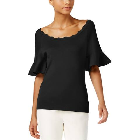 NY Collection Womens Textured Knit Blouse, black, X-Large