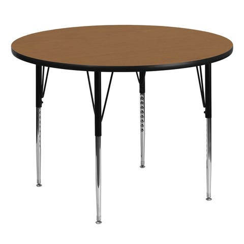 Offex 60'' Round Activity Table with Oak Thermal Fused Laminate Top and Standard Height Adjustable Legs - N/A