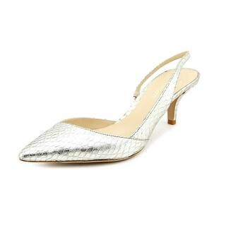 Delman Britt Women Pointed Toe Leather Silver Slingback Heel