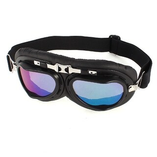 Outdoor Sport Folding Frame Elastic Band Colorful Lens Ski Goggles Glasses Black
