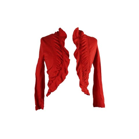 Inc International Concepts Red Short-Sleeve Ruffled Bolero Cardigan S