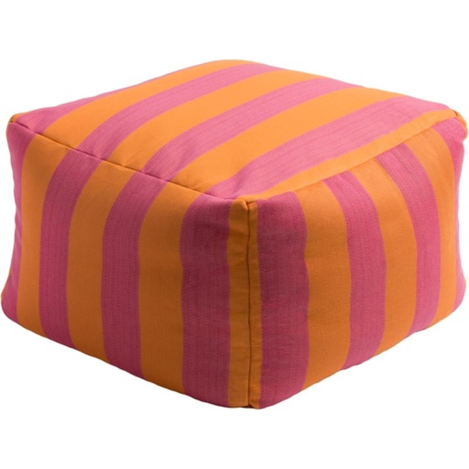 Swell 22 Ginger Orange And Sunset Pink Square Outdoor Patio Pouf Ottoman N A Machost Co Dining Chair Design Ideas Machostcouk