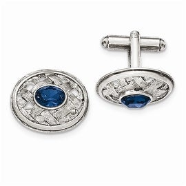 Silvertone Blue Crystal Textured Oval Cuff Links