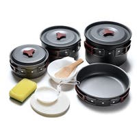 ODOLAND 14-In-1 Portable Camping Cookware Kit for 3 to 5 people Campfire Cook Set