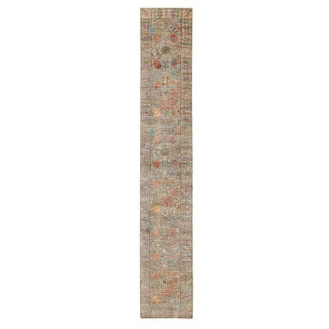 """Shahbanu Rugs Taupe Silk With Textured Wool Directional Vase Design Hand Knotted Oriental XL Runner Rug (2'6"""" x 16'4"""")"""