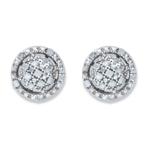 Platinum over Silver Round Diamond Cluster Halo Button Earrings