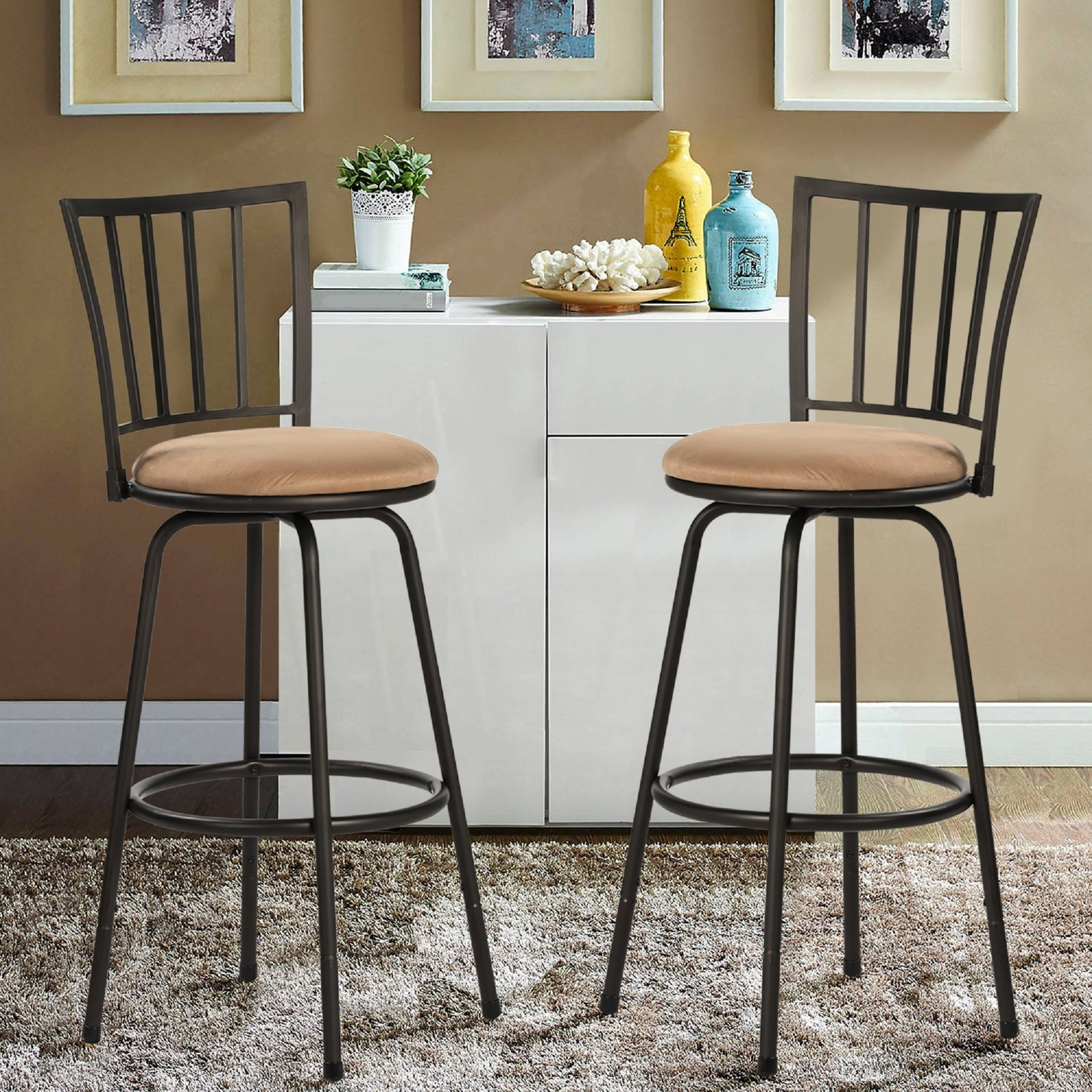 Shop Black Friday Deals On Vecelo Set Of 2 Round Seat Bar Counter Height Adjustable Metal Bar Stool Overstock 30655860