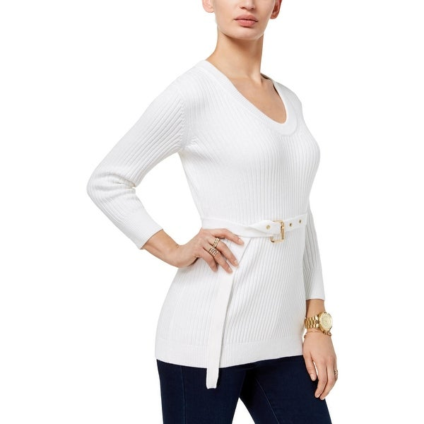 Shop MICHAEL Michael Kors Womens Pullover Sweater Belted Scoop Neck - L -  Free Shipping Today - Overstock.com - 27220487 2ae65c3a2