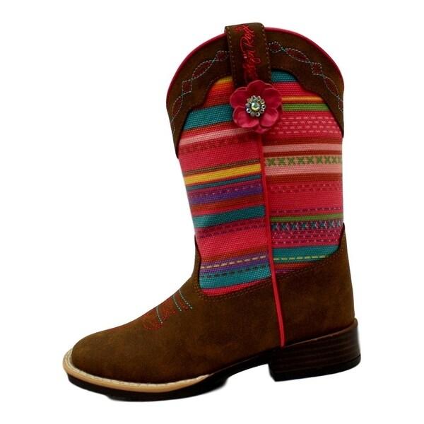Blazin Roxx Western Boots Girls Camilla Striped Flower Brown