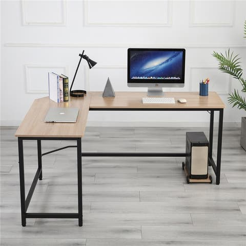 TiramisuBest L-Shaped Home Office Corner Desk Computer Desk-Black+Wood Color