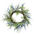 "12"" Blue Green and Brown Decorative Berry Artificial Spring Twig Wreath - Unlit - Thumbnail 0"