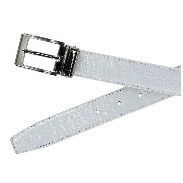 New CTM Big /& Tall Leather Croc Print Dress Belt with Clamp On Buckle