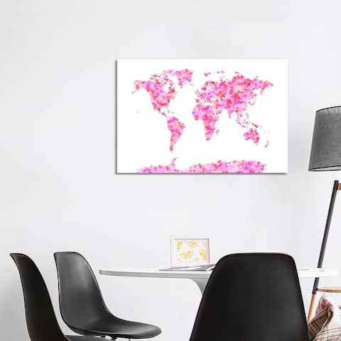 """iCanvas """"Love Hearts Map of the World"""" by Michael Tompsett Canvas Print"""
