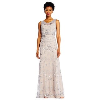 Adrianna Papell Sleeveless Beaded Blouson Gown with Illusion Details - Silver Grey