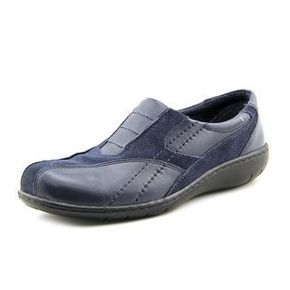Clarks Bingo Q Women Square Toe Leather Blue Loafer
