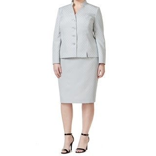 Le Suit NEW Gray Women's Size 20W Plus Printed Seamed Skirt Suit Set