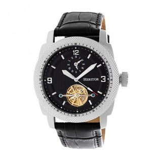 Heritor Helmsley Men's Automatic Watch, Genuine Leather Band, Sapphire-Coated Crystal