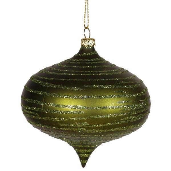 "Olive Green Glitter Striped Shatterproof Christmas Onion Ornament 4"" (100mm)"