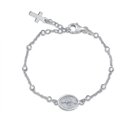 Catholic Christian Religious Medal Virgin Mary Cross Prayer Rosary Bracelet For Women For Teen 925 Sterling Silver