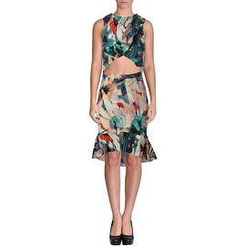 Artelier by Nicole Miller Womens Printed Ruffled Party Dress - 4