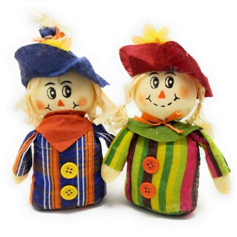 "Darice 7"" Scarecrows Weighted 2 Assorted Styles for Fall, Halloween and Thanksgiving Decorations - Multi Colored"