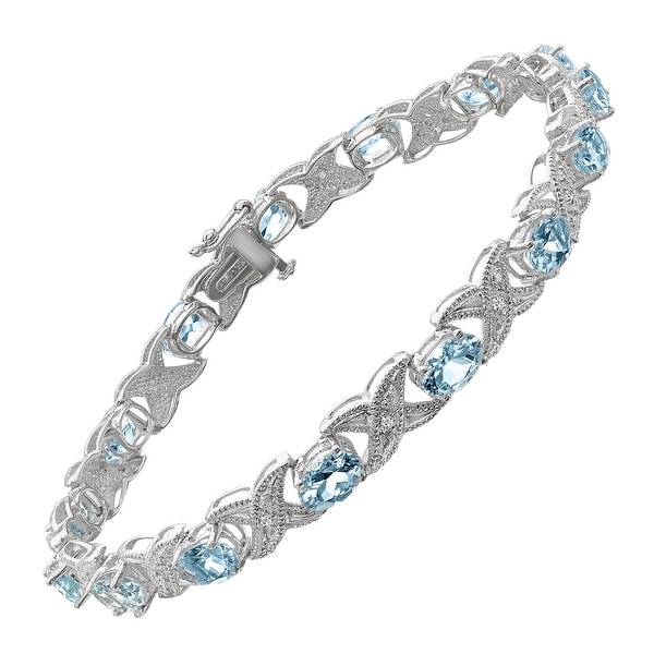 6 ct Natural Aquamarine Link Bracelet with Diamonds in 14K White Gold - Blue