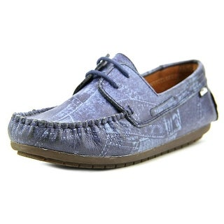 Venettini Tommi Youth Square Toe Leather Blue Loafer