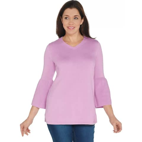H by Halston Womens V-neck Bell Sleeve Sweater Plus 1X Tunic Peony A297074