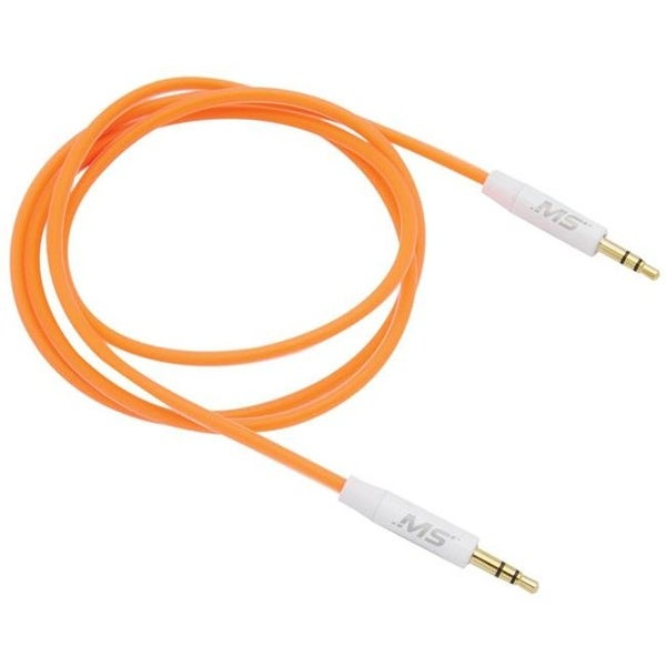Foam Auxiliary Cable, 3 ft., 3.5 mm. to 3.5 mm. - Orange
