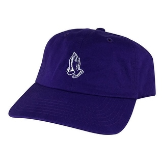 Men Pray Wish Hand Cotton Unstructured Adjustable Strapback Hat Dad Cap by CapRobot - Purple White