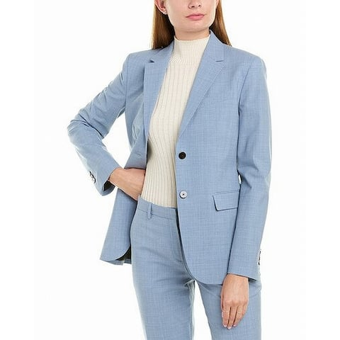 Theory Womens Blazer Periwinkle Blue Size 8 Notch Collar 2 Button Wool