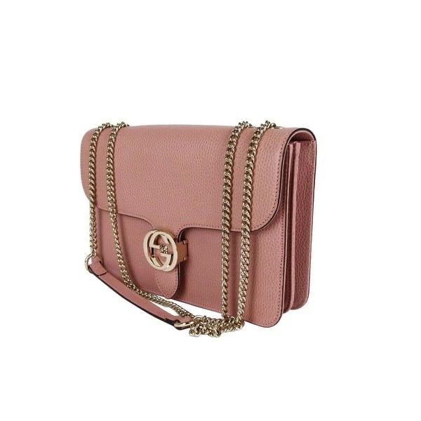 Shop Gucci Women's Soft Pink Leather Interlocking G Large Crossbody Chain  Bag 510303 5806 - Overstock - 30272368
